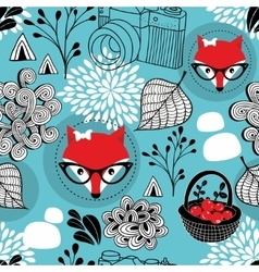Seamless pattern with wild fox in eyeglasses vector image