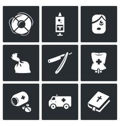 Set of Drug Overdose Icons Help Dose vector
