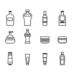 set of icons for bathroom tools in black lines vector image