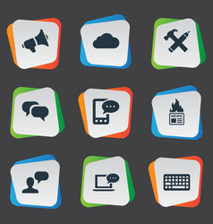 set simple blogging icons vector image