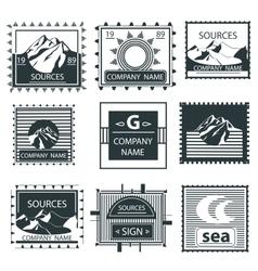 Set stamps emblem mountain vintage labels vector image