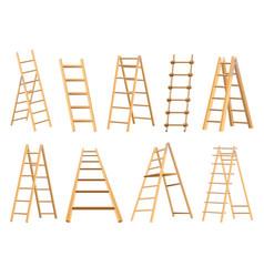 Set wooden ladders household tool step ladders vector