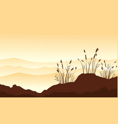 Silhouette of course grass with desert background vector