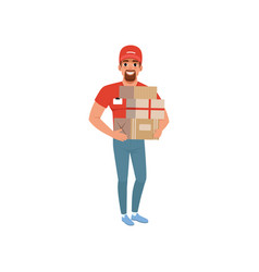 Smiling bearded man delivering packages delivery vector