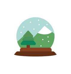 snowglobe tree mountain snow decoration happy vector image