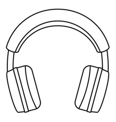 stereo headphones icon outline style vector image