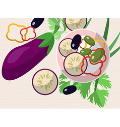 Still life with eggplant chopped peppers olives vector