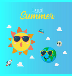 summertime poster with planet characters wearing vector image