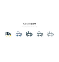 Taxi facing left icon in different style two vector