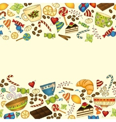 Tea coffee and sweets doodle template pattern vector image