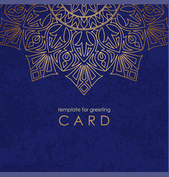 template greeting card round gold mandala on blue vector image
