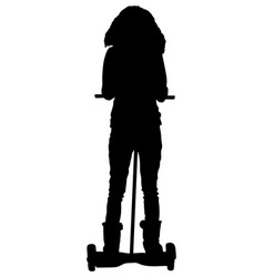 Tourist girl on segway electric scooter silhouette vector
