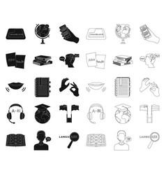 Translator and linguist blackoutline icons in set vector