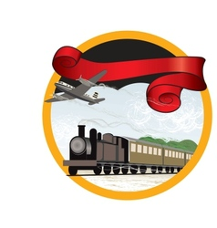 Travel by train and plane vector