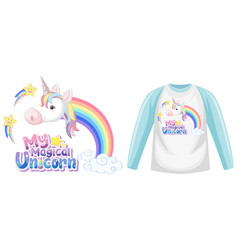 unicorn raglan long sleeve t-shirt vector image