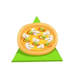 Vegetarian PizzaPart Of Italian Fast Food Cuisine vector