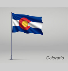 Waving flag colorado - state united states vector