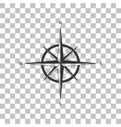 Wind rose sign Dark gray icon on transparent vector