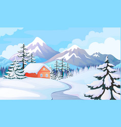 Winter house landscape rural scene with snowy vector