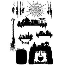 Witches kitchen accessories set vector