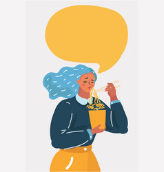 Woman character eating noodles vector