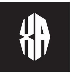 Xa logo monogram with octagonal ribbon style vector