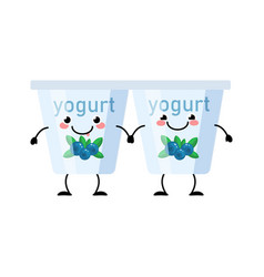 Yogurt characters isolated on white vector
