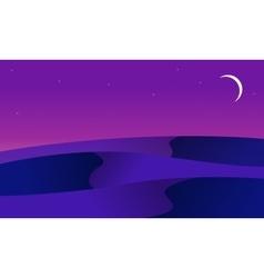 At night desert landscape of silhouette vector image