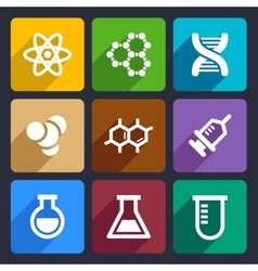 Chemical Flat Icons Set 50 vector image