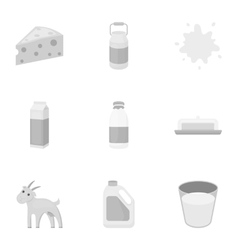 Milk set icons in monochrome style Big collection vector image vector image
