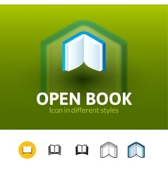 Open book icon in different style vector image vector image
