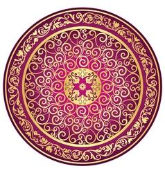 Round gold-purple-vintage pattern vector image vector image