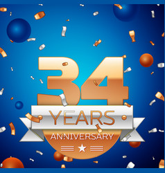 thirty four years anniversary celebration design vector image vector image