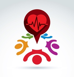Cardiology medical and society cardiogram heart vector image