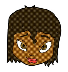comic cartoon female face vector image