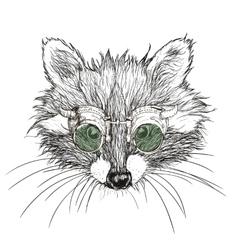 Hand drawn raccoon steampunk vector