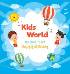 kids birthday template vector image vector image