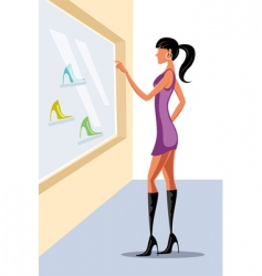 lady window shopping vector image vector image