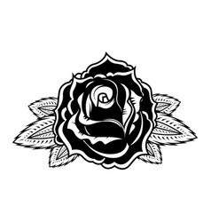 rose in tattoo style design element for oster vector image vector image