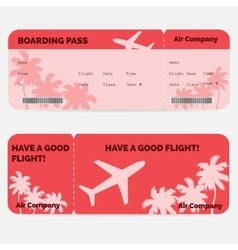 Airline boarding pass red ticket isolated on vector