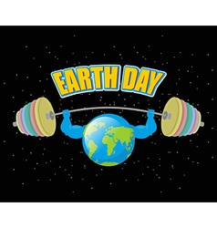 Earth Day Strong planet and sports barbell vector image