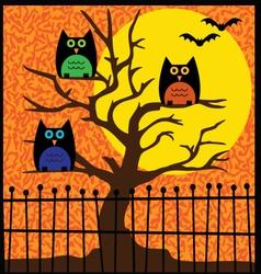 halloween owls in tree vector image vector image