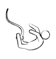 Line pictogram man practice bungee jumping vector