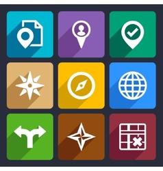Map GPS and Navigation Flat Icons Set 46 vector image vector image