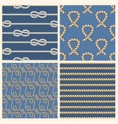 marine ropes seamless patterns set vector image