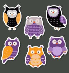 set of cute owls set of cute owls vector image vector image