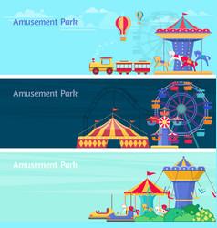 Amusement park banner set with different vector