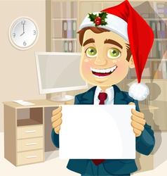 businessman in Santa Claus cap vector image vector image