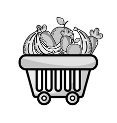 grayscale shopping basket with delicious fruits vector image