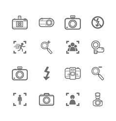 mono Camera icons and menu Camera icons on White p vector image